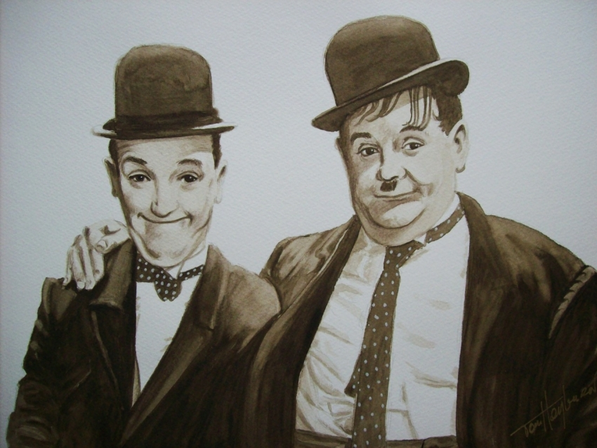 Stan Laurel, Oliver Hardy by Tom-Heyburn